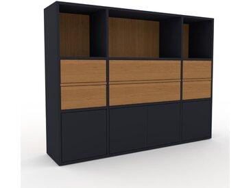 Aktenschrank Anthrazit - Büroschrank: Schubladen in Eiche & Türen in Anthrazit - Hochwertige Materialien - 154 x 118 x 35 cm, Modular