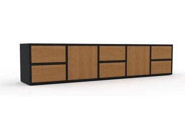 Lowboard Eiche - TV-Board: Schubladen in Eiche & Türen in Eiche - Hochwertige Materialien - 195 x 41 x 35 cm, Komplett anpassbar