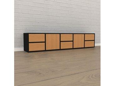 Lowboard Schwarz - TV-Board: Schubladen in Eiche & Türen in Eiche - Hochwertige Materialien - 195 x 41 x 35 cm, Komplett anpassbar