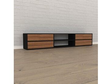 Lowboard Schwarz - Designer-TV-Board: Schubladen in Nussbaum - Hochwertige Materialien - 226 x 41 x 35 cm, Komplett anpassbar