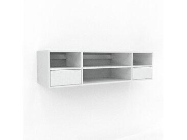 Hängeschrank Weiß - Moderner Wandschrank: Schubladen in Weiß - 154 x 41 x 47 cm, konfigurierbar