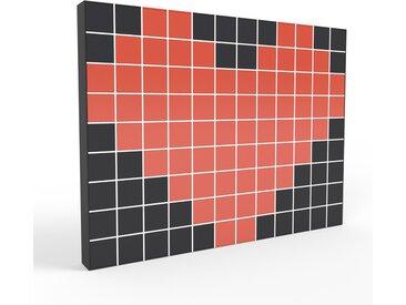Bücherregal Weiß - Modernes Regal für Bücher: Türen in Rot - 464 x 349 x 35 cm, Individuell konfigurierbar