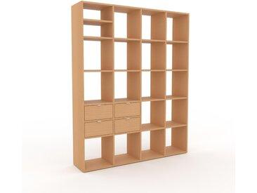 Bücherregal Buche - Modernes Regal für Bücher: Schubladen in Buche - 156 x 195 x 35 cm, Individuell konfigurierbar