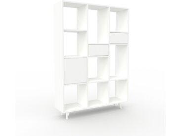 Schallplattenregal Weiß - Modernes Regal für Schallplatten: Schubladen in Weiß & Türen in Weiß - 118 x 168 x 35 cm, Selbst designen