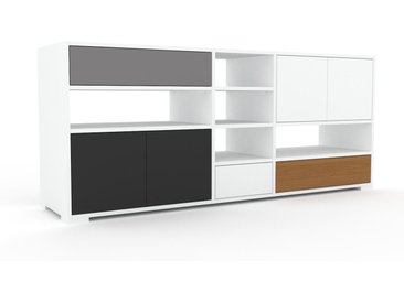 TV-Schrank Weiß - Fernsehschrank: Schubladen in Grau & Türen in Graphitgrau - 190 x 81 x 47 cm, konfigurierbar