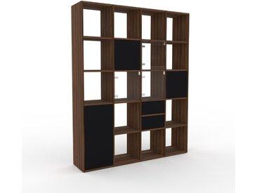 Bücherregal Schwarz - Modernes Regal für Bücher: Schubladen in Schwarz & Türen in Schwarz - 156 x 195 x 35 cm, konfigurierbar