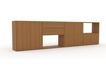 Lowboard Eiche - TV-Board: Schubladen in Eiche & Türen in Eiche - Hochwertige Materialien - 301 x 80 x 35 cm, Komplett anpassbar