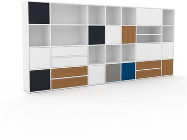 Regalsystem Weiß - Regalsystem: Schubladen in Eiche & Türen in Weiß - Hochwertige Materialien - 344 x 157 x 35 cm, konfigurierbar