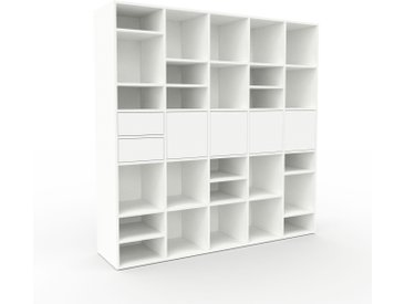 Regalsystem Weiß - Regalsystem: Schubladen in Weiß & Türen in Weiß - Hochwertige Materialien - 195 x 195 x 47 cm, konfigurierbar