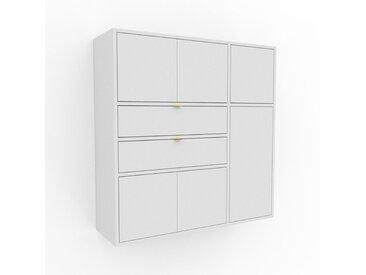 Hängeschrank Weiß - Wandschrank: Schubladen in Weiß & Türen in Weiß - 116 x 118 x 35 cm, konfigurierbar