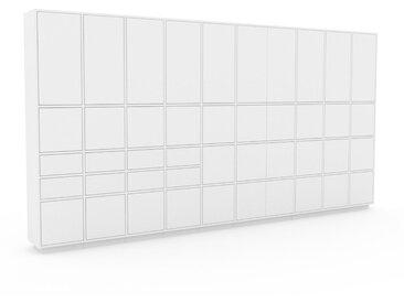 Schrankwand Weiß - Moderne Wohnwand: Schubladen in Weiß & Türen in Weiß - Hochwertige Materialien - 385 x 200 x 35 cm, Konfigurator