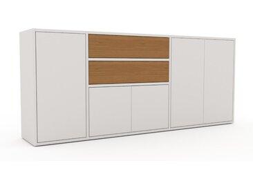 Sideboard Weiß - Sideboard: Schubladen in Eiche & Türen in Weiß - Hochwertige Materialien - 190 x 80 x 35 cm, konfigurierbar