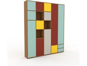 Schrank Eiche - Moderner Schrank: Schubladen in Mint & Türen in Mint - Hochwertige Materialien - 195 x 235 x 35 cm, konfigurierbar