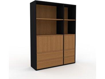 Aktenschrank Schwarz - Büroschrank: Schubladen in Eiche & Türen in Eiche - Hochwertige Materialien - 116 x 157 x 35 cm, Modular