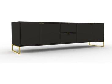Lowboard Graphitgrau, Goldfüße - TV-Board: Schubladen in Graphitgrau & Türen in Graphitgrau - Hochwertige Materialien - 190 x 53 x 47 cm, Komplett anpassbar