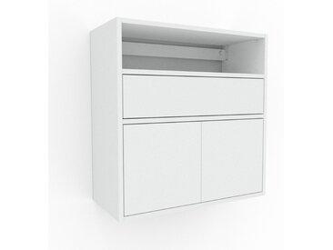 Hängeschrank Weiß - Wandschrank: Schubladen in Weiß & Türen in Weiß - 77 x 80 x 35 cm, konfigurierbar