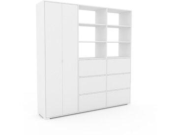 Schank Weiß - Moderner Schrank: Schubladen in Weiß & Türen in Weiß - Hochwertige Materialien - 226 x 235 x 47 cm, konfigurierbar