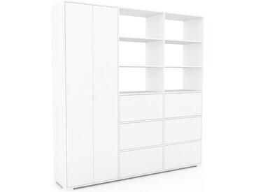 Schrank Weiß - Moderner Schrank: Schubladen in Weiß & Türen in Weiß - Hochwertige Materialien - 226 x 235 x 47 cm, konfigurierbar