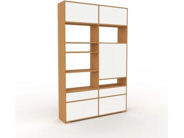 Regalsystem Eiche - Regalsystem: Schubladen in Weiß & Türen in Weiß - Hochwertige Materialien - 152 x 235 x 35 cm, konfigurierbar