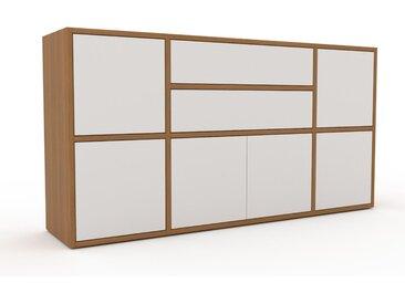 Kommode Weiß - Lowboard: Schubladen in Weiß & Türen in Weiß - Hochwertige Materialien - 154 x 80 x 35 cm, konfigurierbar