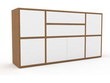 Kommode Eiche - Lowboard: Schubladen in Weiß & Türen in Weiß - Hochwertige Materialien - 154 x 80 x 35 cm, konfigurierbar