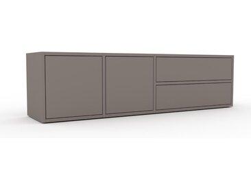 Lowboard Grau - TV-Board: Schubladen in Grau & Türen in Grau - Hochwertige Materialien - 154 x 41 x 35 cm, Komplett anpassbar