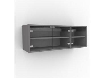 Hängeschrank Kristallglas klar - Moderner Wandschrank: Türen in Kristallglas klar - 116 x 41 x 35 cm, konfigurierbar