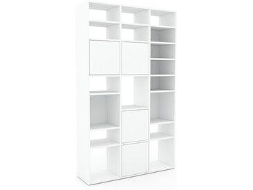 Schrankwand Weiß - Moderne Wohnwand: Türen in Weiß - Hochwertige Materialien - 118 x 195 x 35 cm, Konfigurator