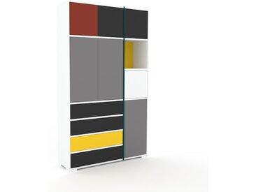 Schrankwand Grau - Moderne Wohnwand: Schubladen in Graphitgrau & Türen in Grau - Hochwertige Materialien - 116 x 196 x 35 cm, Konfigurator