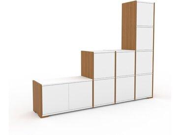 Regalsystem Eiche - Flexibles Regalsystem: Türen in Weiß - Hochwertige Materialien - 193 x 158 x 35 cm, Komplett anpassbar