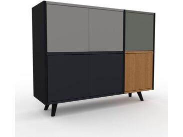 Aktenschrank Schwarz - Flexibler Büroschrank: Türen in Anthrazit - Hochwertige Materialien - 116 x 91 x 35 cm, Modular