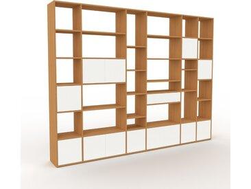Wohnwand Eiche - Individuelle Designer-Regalwand: Schubladen in Weiß & Türen in Weiß - Hochwertige Materialien - 306 x 233 x 35 cm, Konfigurator