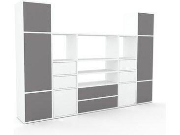 Schrankwand Grau - Moderne Wohnwand: Schubladen in Weiß & Türen in Grau - Hochwertige Materialien - 231 x 157 x 35 cm, Konfigurator