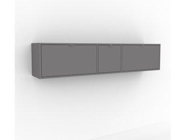 Hängeschrank Grau - Moderner Wandschrank: Schubladen in Grau - 190 x 41 x 35 cm, konfigurierbar