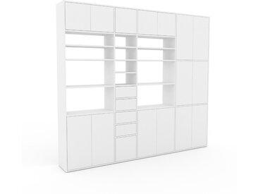Schrankwand Weiß - Moderne Wohnwand: Schubladen in Weiß & Türen in Weiß - Hochwertige Materialien - 265 x 233 x 35 cm, Konfigurator