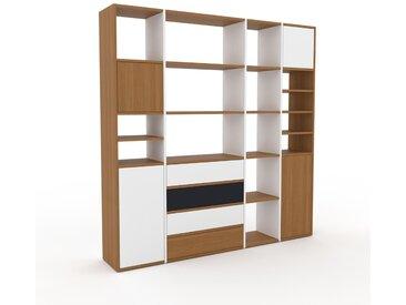 Holzregal Weiß - Modernes Regal aus Holz: Schubladen in Weiß & Türen in Weiß - 193 x 195 x 35 cm, Personalisierbar