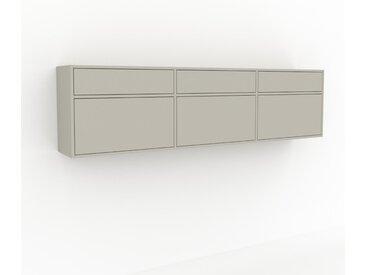 Hängeschrank Taupe - Moderner Wandschrank: Schubladen in Taupe - 226 x 61 x 35 cm, konfigurierbar