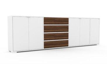 Sideboard Weiß - Sideboard: Schubladen in Nussbaum & Türen in Weiß - Hochwertige Materialien - 265 x 81 x 35 cm, konfigurierbar