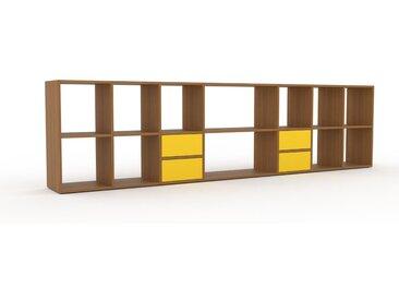 Holzregal Eiche - Skandinavisches Regal aus Holz: Schubladen in Gelb - 308 x 80 x 35 cm, Personalisierbar