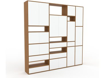 Schrankwand Weiß - Moderne Wohnwand: Schubladen in Weiß & Türen in Weiß - Hochwertige Materialien - 229 x 233 x 35 cm, Konfigurator