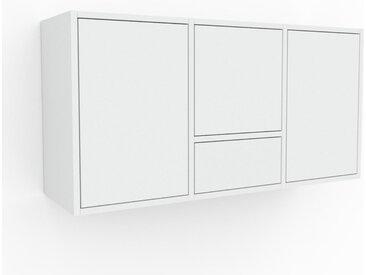 Hängeschrank Weiß - Wandschrank: Schubladen in Weiß & Türen in Weiß - 118 x 61 x 35 cm, konfigurierbar