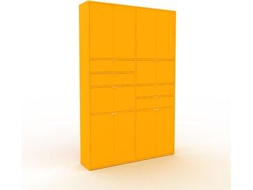 Wohnwand Gelb - Individuelle Designer-Regalwand: Schubladen in Gelb & Türen in Gelb - Hochwertige Materialien - 152 x 233 x 35 cm, Konfigurator
