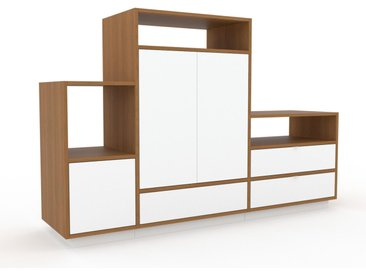 TV-Schrank Weiß - Fernsehschrank: Schubladen in Weiß & Türen in Weiß - 190 x 124 x 47 cm, konfigurierbar