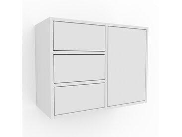 Hängeschrank Weiß - Wandschrank: Schubladen in Weiß & Türen in Weiß - 79 x 61 x 35 cm, konfigurierbar