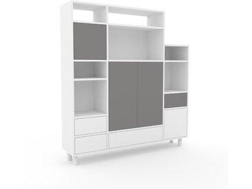 Aktenschrank Weiß - Büroschrank: Schubladen in Weiß & Türen in Grau - Hochwertige Materialien - 154 x 168 x 35 cm, Modular
