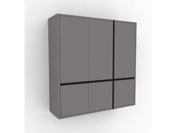 Hängeschrank Grau - Moderner Wandschrank: Türen in Grau - 116 x 118 x 35 cm, konfigurierbar