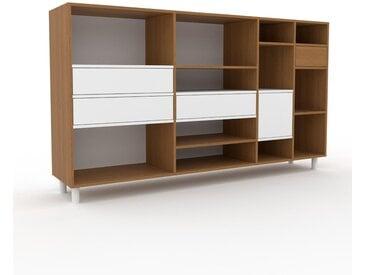 Regalsystem Eiche - Regalsystem: Schubladen in Weiß & Türen in Weiß - Hochwertige Materialien - 229 x 130 x 47 cm, konfigurierbar