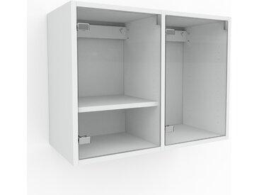 Hängeschrank Kristallglas klar - Moderner Wandschrank: Türen in Kristallglas klar - 79 x 61 x 35 cm, konfigurierbar
