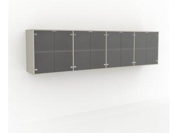 Hängeschrank Kristallglas satiniert - Moderner Wandschrank: Türen in Kristallglas satiniert - 301 x 80 x 47 cm, konfigurierbar