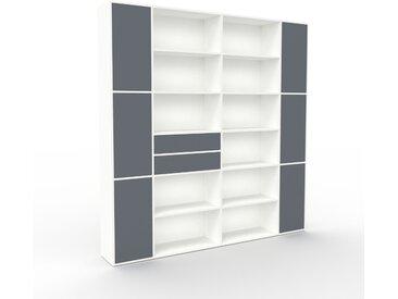 Aktenregal Weiß - Büroregal: Schubladen in Anthrazit & Türen in Anthrazit - Hochwertige Materialien - 229 x 234 x 35 cm, konfigurierbar